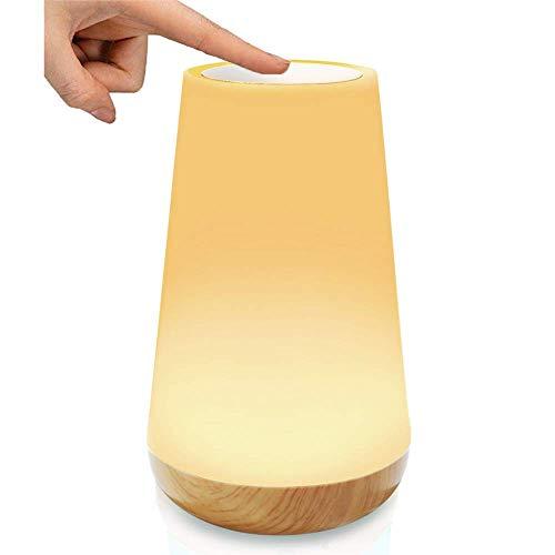 LED-Nachtlicht, Stimmungslicht, Nachttischlampe Lampe für Kinderzimmer, Schlafzimmer Tischleuchte, wiederaufladbar, dimmbar, Smart Touch Control Nachtlicht, warmes weißes Licht + RGB-Farbwechsel