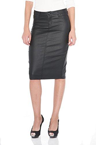 Suko Women's Below The Knee Pencil Skirt Faux Leather Vegan 57422 Black Size 2