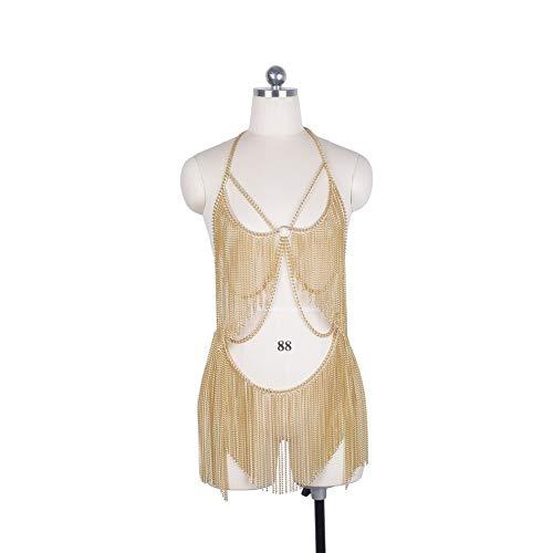 HJG Frauen Metall-Körper-Kette Set indische Bauchtanz-Kette Bikini-Kostüm-Halloween-Partei Clubwear