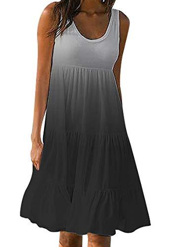 YMING Women's Sleeveless Loose Plain Dresses Casual Short Mini Dress Oversized Ombre Dress Black L