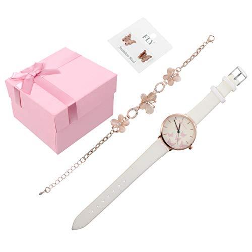 Baluue Reloj de Cuarzo para Mujer Blanca Conjunto de Pulsera con Pendientes Pulsera de Flores de...