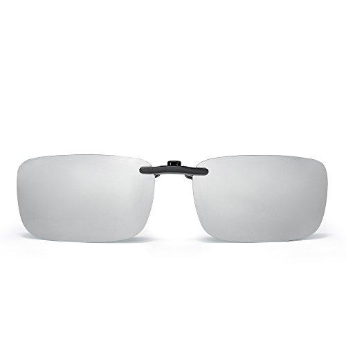 JM Sin marco Rectángulo Clip en Gafas de Sol Ligero Peso Polarizadas Anteojos Hombre Mujer(Plateado Espejo Polarizado)