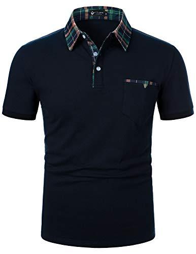 STTLZMC Polos Hombre Mangas Corta Clásico Plaid Cuello Camiseta T-Shirts,Azul,M