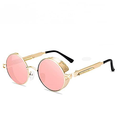 KANGDE Gafas De Sol Redondas De Metal para Hombres Y Mujeres, Gafas De Moda, Montura Vintage, Lentes Coloridos, Gafas Uv400