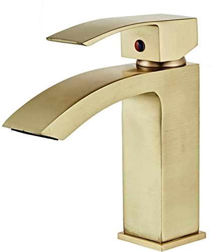 Qianglin Grifos de Lavabo de baño Grifo de Cascada de baño de Oro Cepillado Grifo de baño de Mezcla fría y Caliente Grifos de tocador