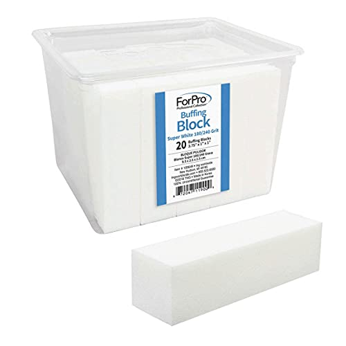 """ForPro Professional Collection Super White Buffing Block, 180/240 Grit, Four-Sided Manicure & Pedicure Nail Buffer, 3.75"""" L x 1"""" W x 1"""" H, 20Count"""
