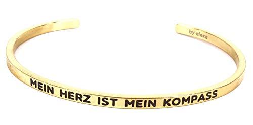Mein Mantra by Alexa Armreif/Bangle MEIN HERZ IST MEIN KOMPASS Farbauswahl gold