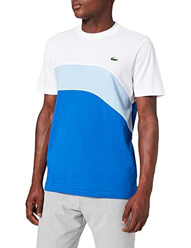 Lacoste TH9656 T-Shirt, Blanc/Nattier 07E-Lazuli, XS Uomo