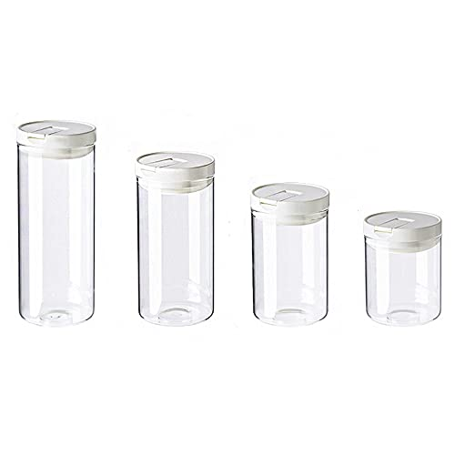 4 Piezas Tarro de Cristal, Tarros de Almacenamiento, Tarros de Cristal para Cocina, Botes Hermeticos Cocina, Frascos de almacenamiento, para Especias, Cereales, Azúcar, Té