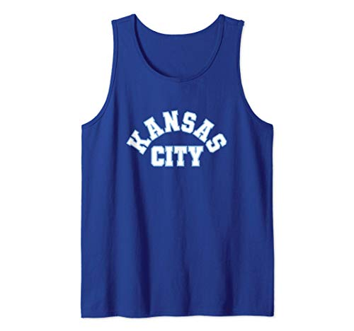 Kansas City Powder Blue & Royal blue Kc Outlined Kc Curved Tank Top