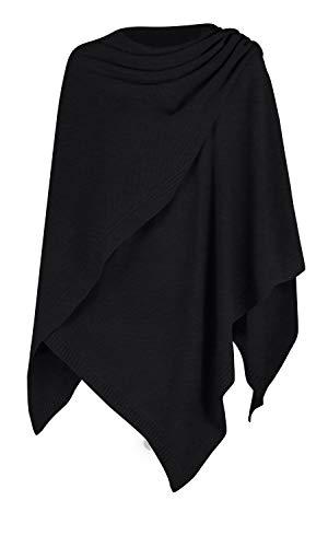 Mikos* Damen Poncho Strick Strickpullover Eleganter Pulli Long Mantel Herbst Winter Viele Farben Eine Größe (991) (Schwarz)
