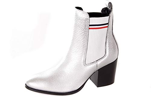 Tommy Hilfiger Sock Shiny MID Heel Chelsea - Botines para mujer, color Plateado, talla 41 EU