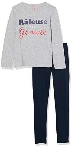 Lina Pink EF.Flem.pl Juego de Pijama, Gris/Marine, 10 ANS para Niñas