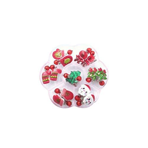 Toyvian 7 Paar Weihnachtskinder Clip auf Ohrringe Tropfen baumeln Ohrringe Mädchen Prinzessin Schmuck Spielset für Kinder Weihnachten Festliche Geburtstagsfeier Geschenk