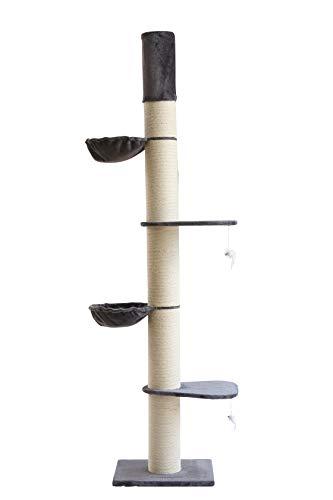 Clamaro 'Athen' XXL Katzenbaum deckenhoch höhenverstellbar (grau), Katzen Kratzbaum extra groß mit Ø 20 cm Sisal Säulen, 2 Liegeplätzen und 2 Liegemulden - Maße (B/T/H): 50 x 60 x 235-275 cm