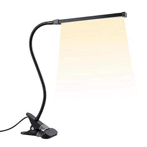 Everyfit 8W Clip on Light/Reading Lights/Night Book Light/Clamp on Lights, 3 Color Temperature Settings Stepless Adjustable Brightness Clip Lamps for Desk, Bed Headboard, Computer and Piano (Black)