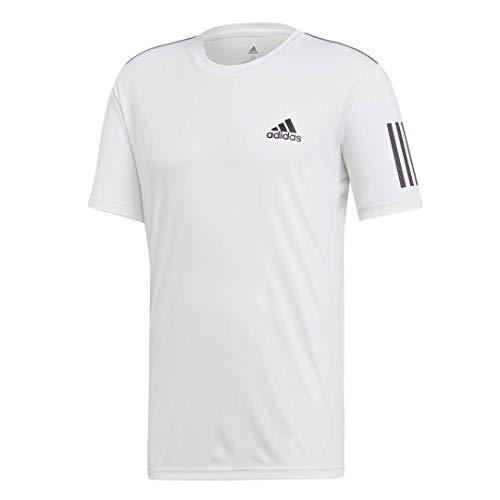 adidas Men's 3-Stripes Regular Fit Tennis Club Short Sleeve T-Shirt, White/Black, Large
