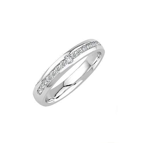 GIORO Lina Damen Ring Verlobungsring Antragsring 925 Silber *handgefasste Swarovski Steine* Weißgold Platin Optik mit Gravur (58 (18.5))