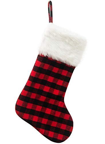 2 medias navideñas, medias de 50,8 cm a cuadros de piel sintética con puño para chimenea, para decoración familiar de fiestas navideñas
