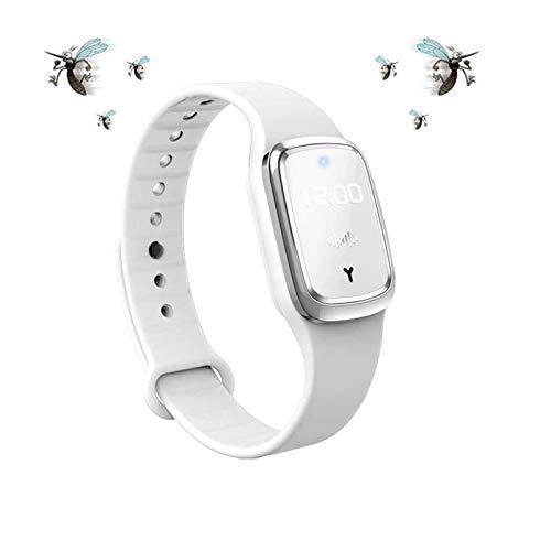 MENGZF Ultraschall Mückenschutz Armbänder, Elektronische Anti-Mücken-Armband Uhr mit USB Aufladung/Wasserdicht/Wiederverwendbar/Tragbar, für Kinder und Erwachsene (Verbesserte Version) (Weiß)