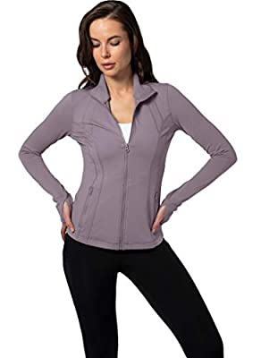 Yogalicious Womens Full Zip Up Long Sleeve Track Jacket with Zipper Pockets - Quick Silver - Small
