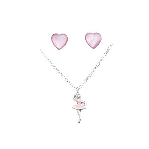 Tata Gisele - Parure collana e orecchini in argento 925/000 rodiato, pietra sintetica e resina epossidica, ciondolo a forma di ballerina, orecchini a forma di cuore, colore: rosa