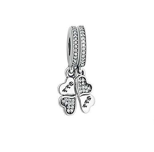 FGT Best Friend Charm for Bracelets Sterling Silver Clover Heart BFF Charm Gift for Women Girls Birthday Christmas