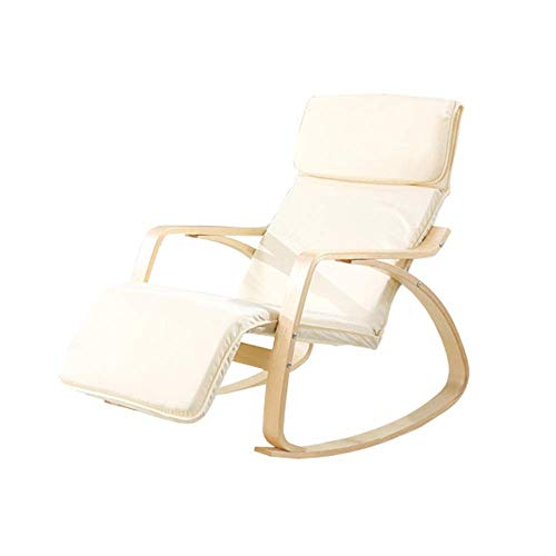 GNLIAN YF-CHEN Chair Relax Rocking Chair Lounge Chair Relax Chair with Soft Cushion & Footrest (Color : White, Size : 90x90x67.8cm)