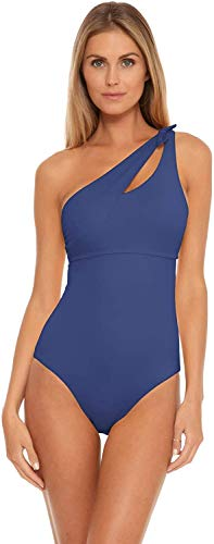 Becca by Rebecca Virtue Women's Sadie One Shoulder One Piece Swimsuit Classic Blue M