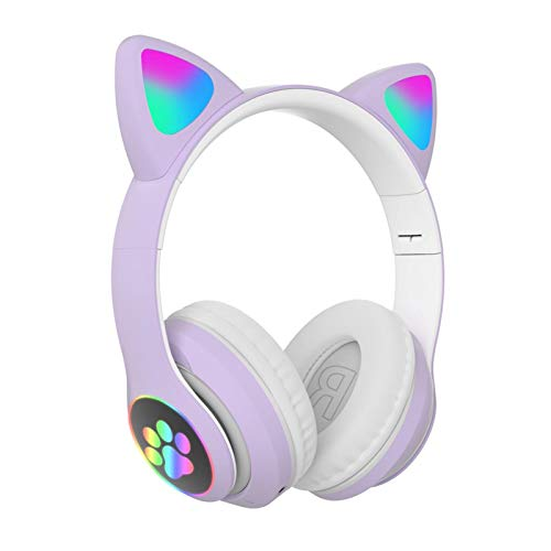 Bluetooth 5.0 Wireless Stereo LED Light Gaming Headset with FM Radio Cat Ear HiFi Music Headphones