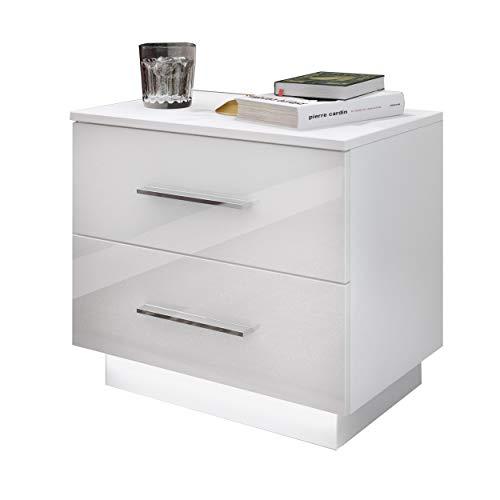LUK Furniture Nachttisch Lina mit Chrom Griffe Schubladen und LED Beleuchtung Weiß Hochglanz HG Schlafzimmer Schlafzimmerkommode Nachtkonsole Nachtschrank Beistelltisch
