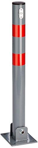 Relaxdays 10020092_482 Barrera de Aparcamiento Plegable con 3 Llaves, Altura 65 cm, echada 8 cm, Acero y Tapa de plastico, Ancho x Largo: 15 x 13 cm, Forma Redonda, Bloqueo, Gris y Rojo