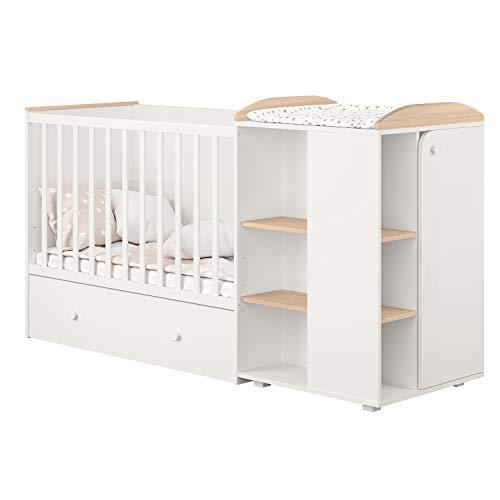 Polini Mitwachsendes Kombi-Kinderbett French 800 Ameli mit Kommode weiß-pastell Eiche