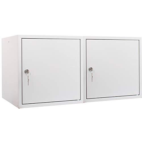 newpo Mega Deal | 2x Schließfachwürfel | HxBxT 35 x 35 x 35 cm | Grau - Garderobe Schließfach Schließfachschrank Schließwürfel