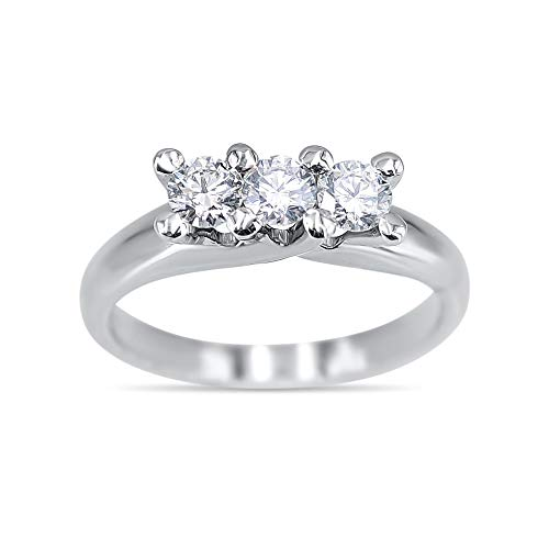 Jewelab Anello Donna Oro Bianco 18 kt Trilogy con Diamanti Naturali 0,70 ct.