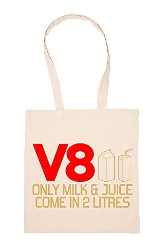 Only Milk ANd Juice Come In 2 Litres V8 Beige Einkaufstasche Wiederverwendbar Langlebig Umweltfreundlich Reusable Shopping Bag