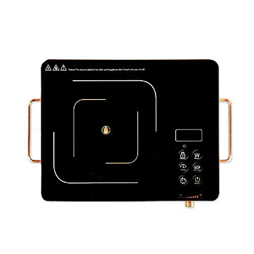 XIUYU Induktionskochfeld Desktop Verbrühschutz Griff Glaskeramikherd tragbarer Elektroherd 2200W, Knopf Keine hochfrequente Strahlung steuern sicher stumm, Schwarz (Color : Black)