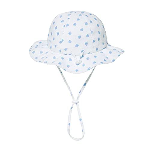 Comhats Sombrero para niña y niño, sombrero de pescador, con estampado de fresa, piña plegable, para exteriores, protección UV UPF50, respetuoso con la piel 92556_Blue Strawberry 1 mes
