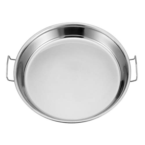 DOITOOL Round Steamer Rack Plate Stainless Steel Roasting Pan Roaster Pan Tray Non- Stick Lasagna Pan Baking Tray with Handles for Roasting Turkey Meat Joints Vegetables 34CM