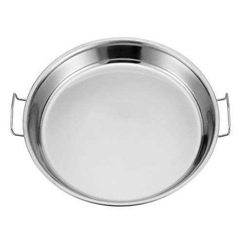 Hemoton Edelstahl Platte Teller Lebensmittel Teller Dampfenden Teller Runde Cookie Blatt mit Griff für Home Küche 36CM