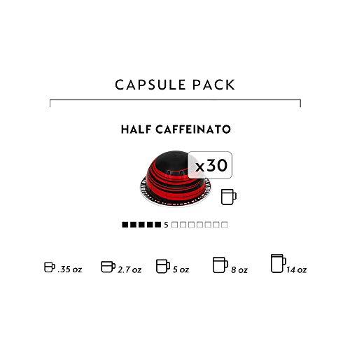 Nespresso Capsules VertuoLine, Half Caffeinato, Mild Roast Coffee, 30 Count Coffee Pods, Brews 7.8oz