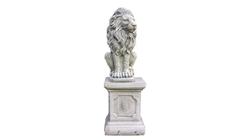 Löwe auf Sockel, Skulptur aus Steinguss, Figur