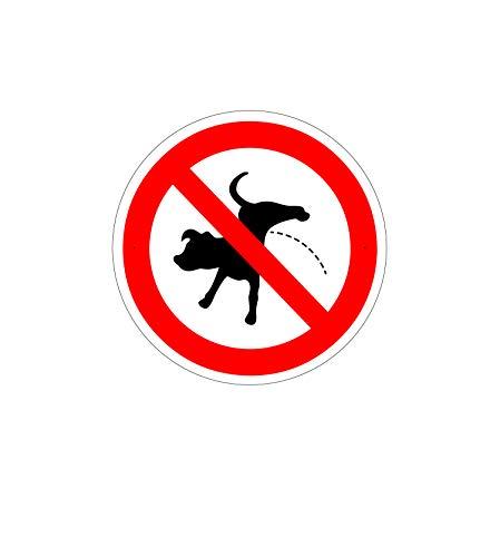 Verbotsschild – Kein Hunde pinkeln – Durchmesser 24 cm – 4 mm Alu Dibond – mit 2 Bohrlöchern