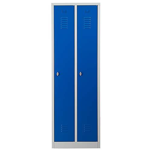 Certeo Garderobenspind | HxBxT 180 x 60 x 50 cm | Vorhängeschloss | Grau-Blau | Garderobenspind Umkleidespind Spind Schrank Abschließbar