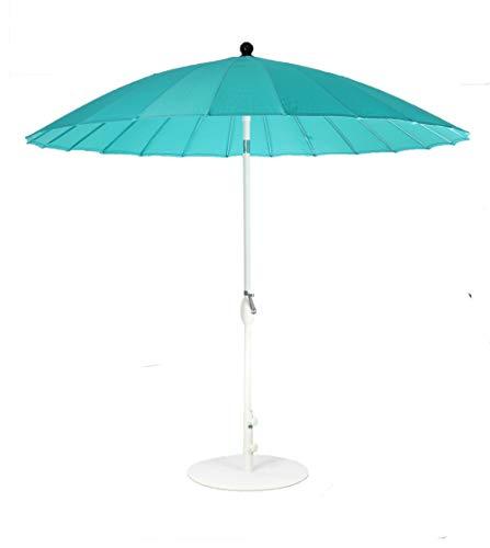 SORARA Shanghai Parasol de Jardin Exterieur | Bleu | ø 260 cm | Rond | Mécanisme à Manivelle, Fonction d'inclinaison (Pied excl.)