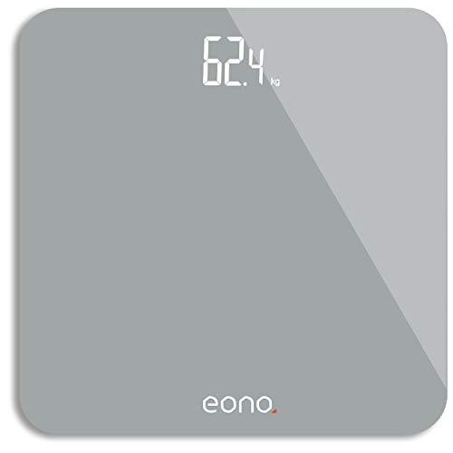 Amazon Brand – Eono Báscula de Baño Digital Ultrafina De Vidrio Templado Para el Baño Con Sensores De Alta Precisión, Sistema De Unidades: kg/lb/st, 15 Años De Garantía Plateado