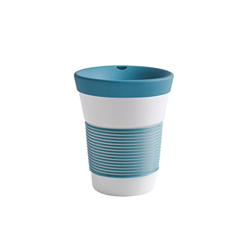 Kahla cupit Becher 0,35 l mit Trinkdeckel in Green Lagoon, Coffee to Go Mug aus Porzellan mit innovativer Magic Grip Beschichtung, Pro Öko, 10 x 6 x 13.2 cm