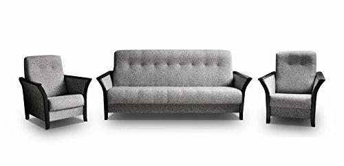 mb-moebel Polstergarnitur Sofa mit Schlaffunktion und Bettkasten 3er Schlafsofa und Zwei Sessel Wohnlandschaft 3-Sitzer Möbel Set - Barbados (Grau)