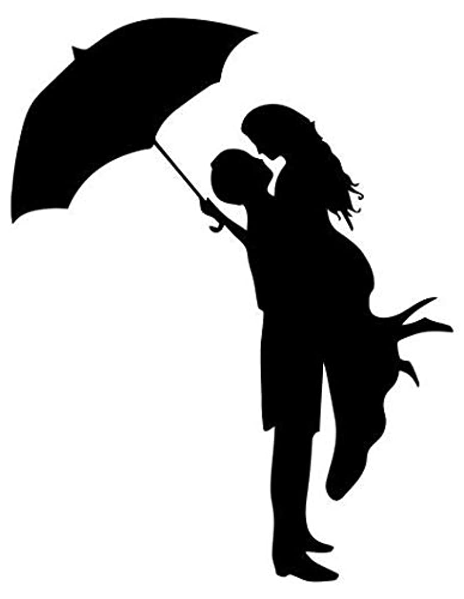 Boy Girl Couple Kissing Umbrella - Sticker Graphic - Auto, Wall, Laptop, Cell, Truck Sticker for Windows, Cars, Trucks