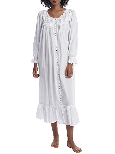 Eileen West Ballet Button Front Woven Nightgown, L, White